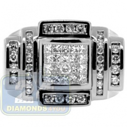 Black PVD 14K Gold 1.40 ct Princess Cut Diamond Mens Ring