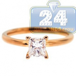 14K Rose Gold 0.70 ct Princess Cut Diamond Solitaire Engagement Ring