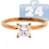 14K Rose Gold 0.70 ct Princess Cut Diamond Solitaire Engagement Ring
