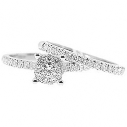 14K White Gold 0.90 ct Diamond Engagement Wedding Rings Set