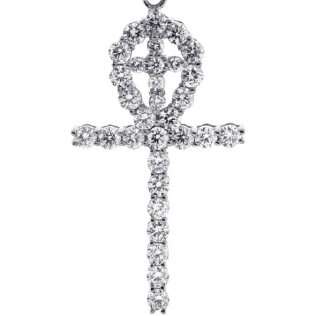 Mens Diamond Dual Ankh Cross Pendant 10K White Gold 2.25ct