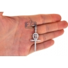14K White Gold 2.27 ct Diamond Egyptian Ankh Dual Cross