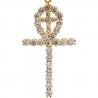 14K Yellow Gold 2.26 ct Diamond Egyptian Ankh Dual Cross