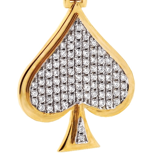 Mens diamond ace of spades suit pendant 10k yellow gold 146ct aloadofball Image collections