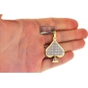 Mens Diamond Ace of Spades Suit Pendant 10K Yellow Gold 1.46ct