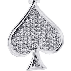 14K White Gold 0.94ct Diamond Spades Symbol Mens Pendant