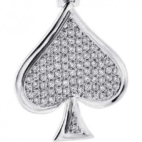 14K White Gold 0.94ct Diamond Spades Symbol Mens Pendant
