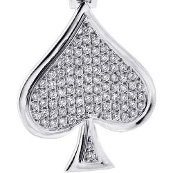14K White Gold 0.94 ct Diamond Spades Symbol Mens Pendant