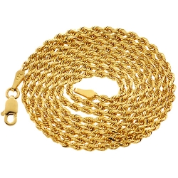 Solid 14K Yellow Gold Mens Rope Chain 2 mm 20 22 24 26 28 30 inch