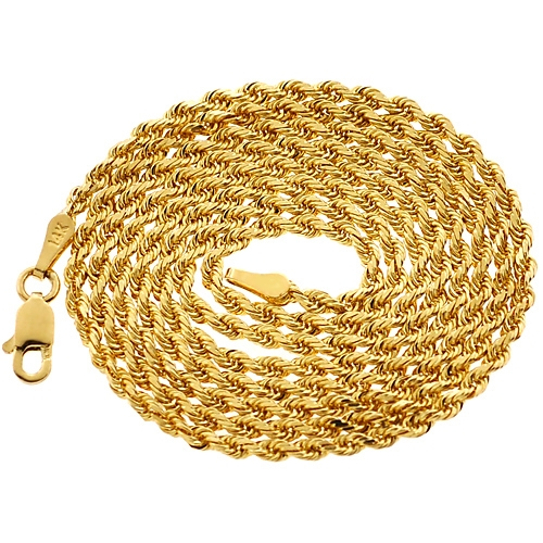 cd8a8b11993d1 Italian 14K Yellow Gold Solid Rope Mens Chain 2 mm