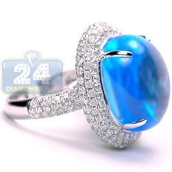 14K White Gold 31.55 ct Cabochon Blue Topaz Diamond Womens Ring