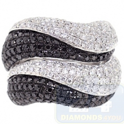 14K Gold 3.54 ct Black White Diamond Womens Wave Ring