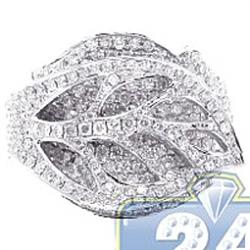 14K White Gold 2.26 ct Diamond Womens Leaf Design Ring