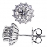 Womens Diamond Flower Stud Earrings 18K White Gold 1.82 Carat