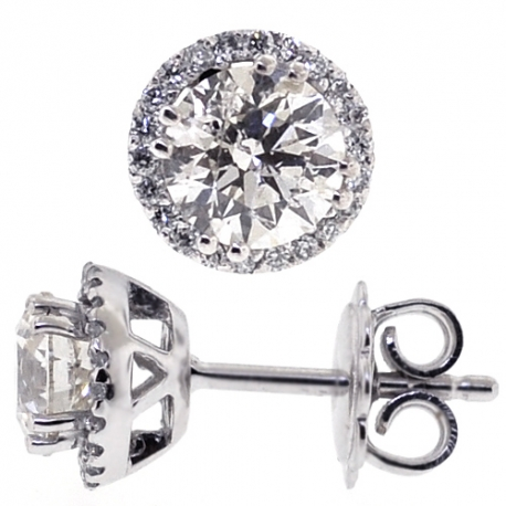 Womens Diamond Halo Push Back Stud Earrings 18K Gold 1.73 Carat