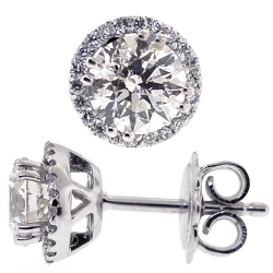 18K White Gold 1.73 ct Diamond Halo Push Back Stud Earrings