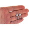 Womens Diamond Halo Martini Stud Earrings 18K White Gold 1.08 ct