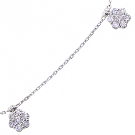 Womens Diamond Cluster Station Long Necklace 14K White Gold 27""