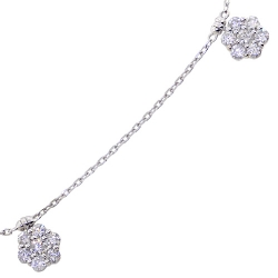 14K White Gold 2.77 ct Diamond Cluster Womens Station Necklace