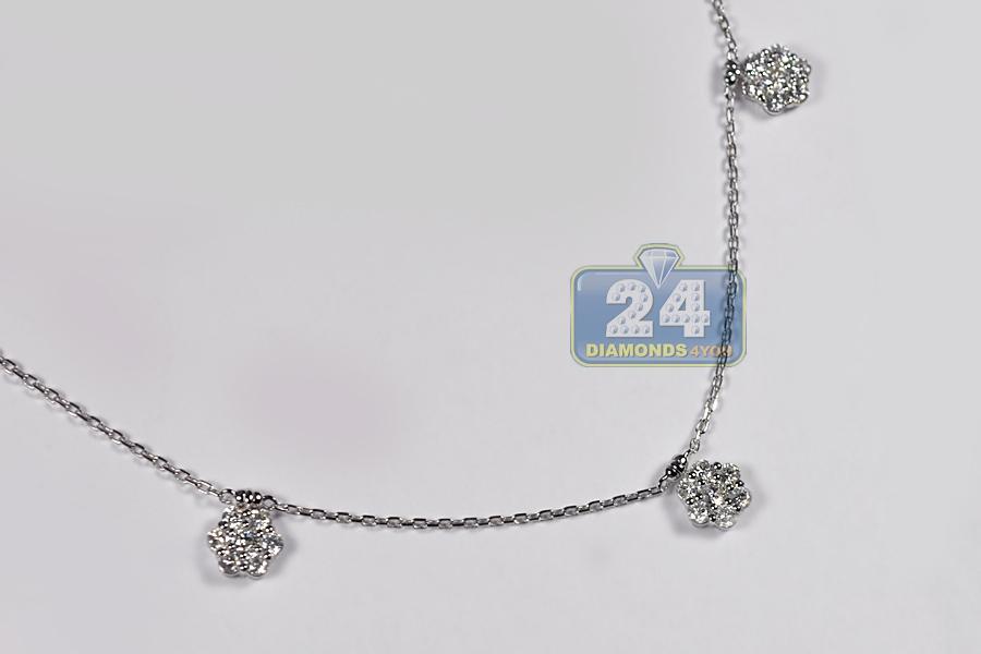 K White Gold Diamond Station Necklace