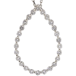Womens Diamond Open Oval Pendant Necklace 14K White Gold 16.5""