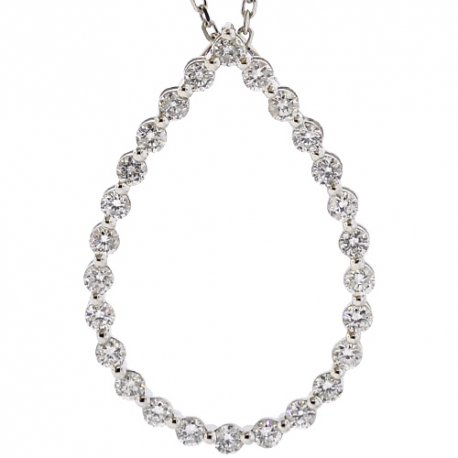 Womens Diamond Open Pendant Necklace 14K White Gold 16.5 inches