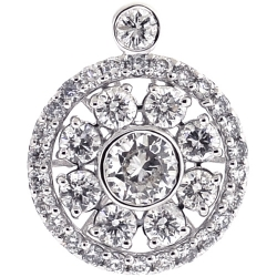 Womens Diamond Round Flower Pendant 18K White Gold 2.02 Carat