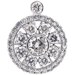 18K White Gold 2.02 ct Diamond Round Flower Pendant