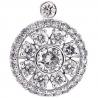 Womens Diamond Round Flower Pendant 18K White Gold 2.02 Carat