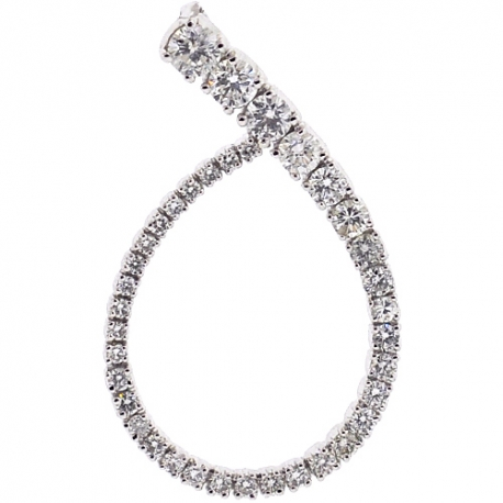 Womens Diamond Open Loop Pendant 14K White Gold 1.32 Carat