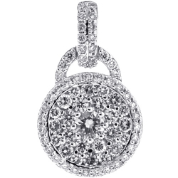 Womens Diamond Cluster Lock Pendant 14K White Gold 1.20 Carat