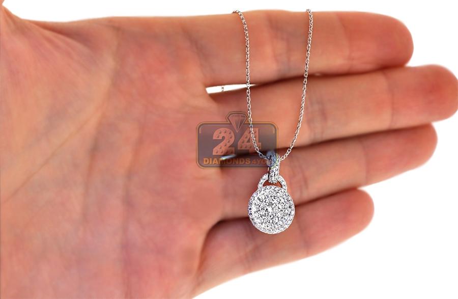 Womens Diamond Cluster Lock Pendant 14k White Gold 1 20ct