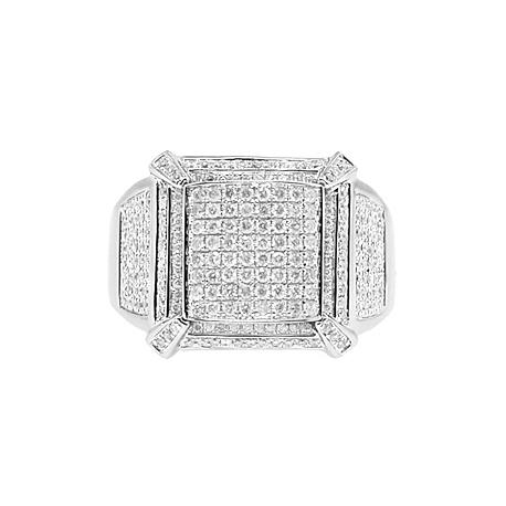 14K White Gold 1.38 ct Round Cut Diamond Mens Ring