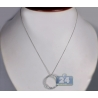 14K White Gold 1.27 ct Diamond Graduated Open Circle Pendant