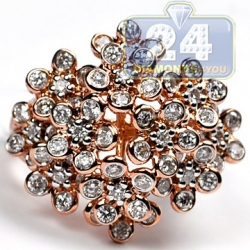 14K Rose Gold 1.80 ct Diamond Cluster Womens Flower Ring