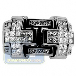 Black PVD 14K Gold 1.73 ct Diamond Mens Double Cross Ring