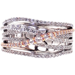 18K White Rose Gold 0.86 ct Diamond Womens Highway Ring