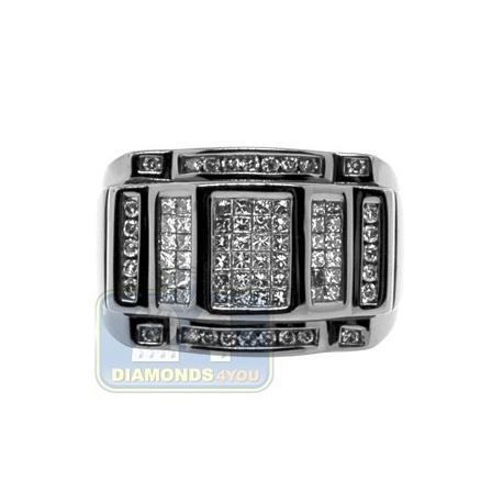 Black PVD 14K Gold 1.19 ct Princess Round Diamond Mens Ring