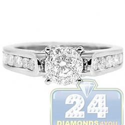 18K White Gold 1.07 ct Diamond Cluster Engagement Ring