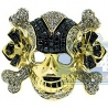 14K Yellow Gold 1.81 ct Black White Diamond Mens Skull Ring