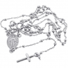Sterling Silver Rosary Beads Womens Necklace 1.8 mm 17 inch