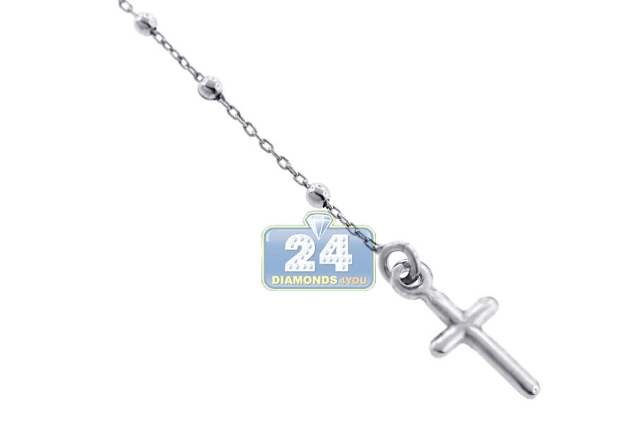 Sterling Silver Rosary Beads Womens Cross Necklace 1 8 Mm