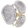 14K Yellow Gold 2.46 ct Diamond Womens Abstract Cocktail Ring