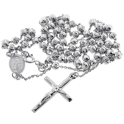 Sterling Silver Moon Cut Bead Mens Rosary Necklace 4 mm 24 26 inch