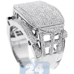 10K White Gold 1.37 ct Diamond Pave Mens Signet Ring