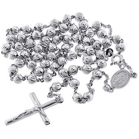 Sterling Silver Moon Cut Rosary Mens Necklace 5 mm 24 26 inch
