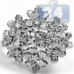 14K White Gold 1.78 ct Diamond Womens Flower Design Ring