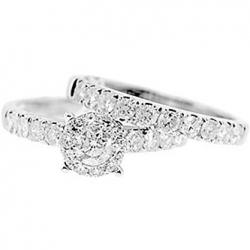14K White Gold 1.46 ct Diamond Engagement Wedding Rings Set