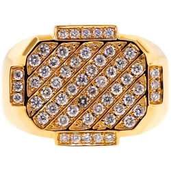 Mens Diamond Rectangle Signet Pinky Ring 14K Yellow Gold 1.55 ct