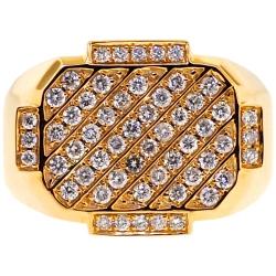 14K Yellow Gold 1.55 ct Diamond Rectangle Pinky Ring